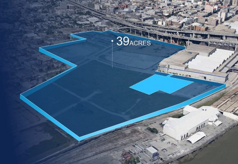 Aerial map of 39-acre development area, located upriver from the New Orleans Ernest N. Morial Convention Center